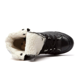 Women's Black Leather Fur Converse Sneakers