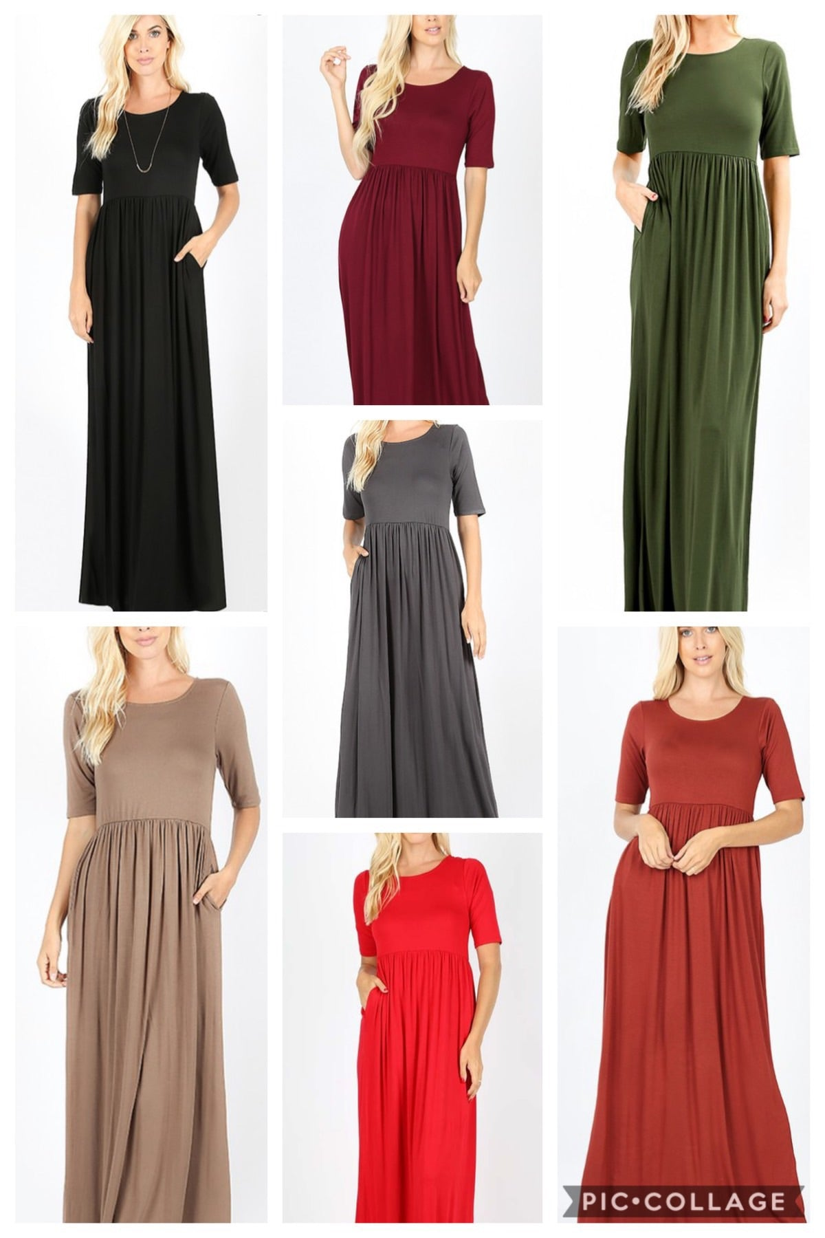 Soft and Stretchy Maxi Dress (Brick)*