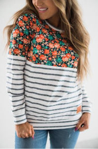Color Block Navy Stripe/Floral*