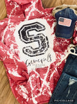 Bleached and Distressed SHERIDAN GENRALS School Spirit Tee
