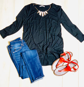 The Basic Front Knot Top (Black)*