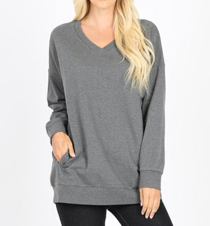 Basic, Comfy and Casual V- Neck Sweatshirt (Grey)*