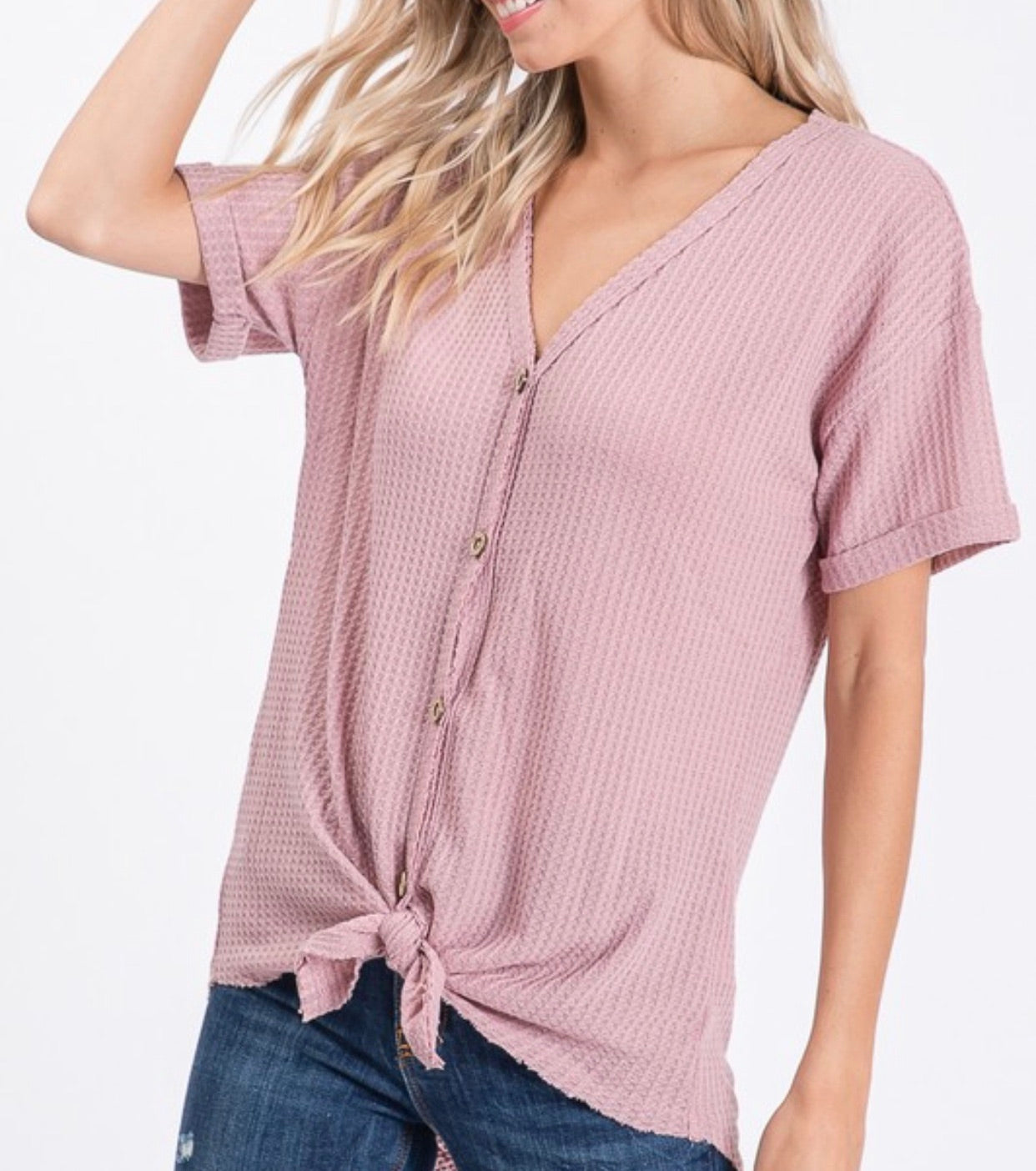 The Chevy Front Knot Top (Rose)*