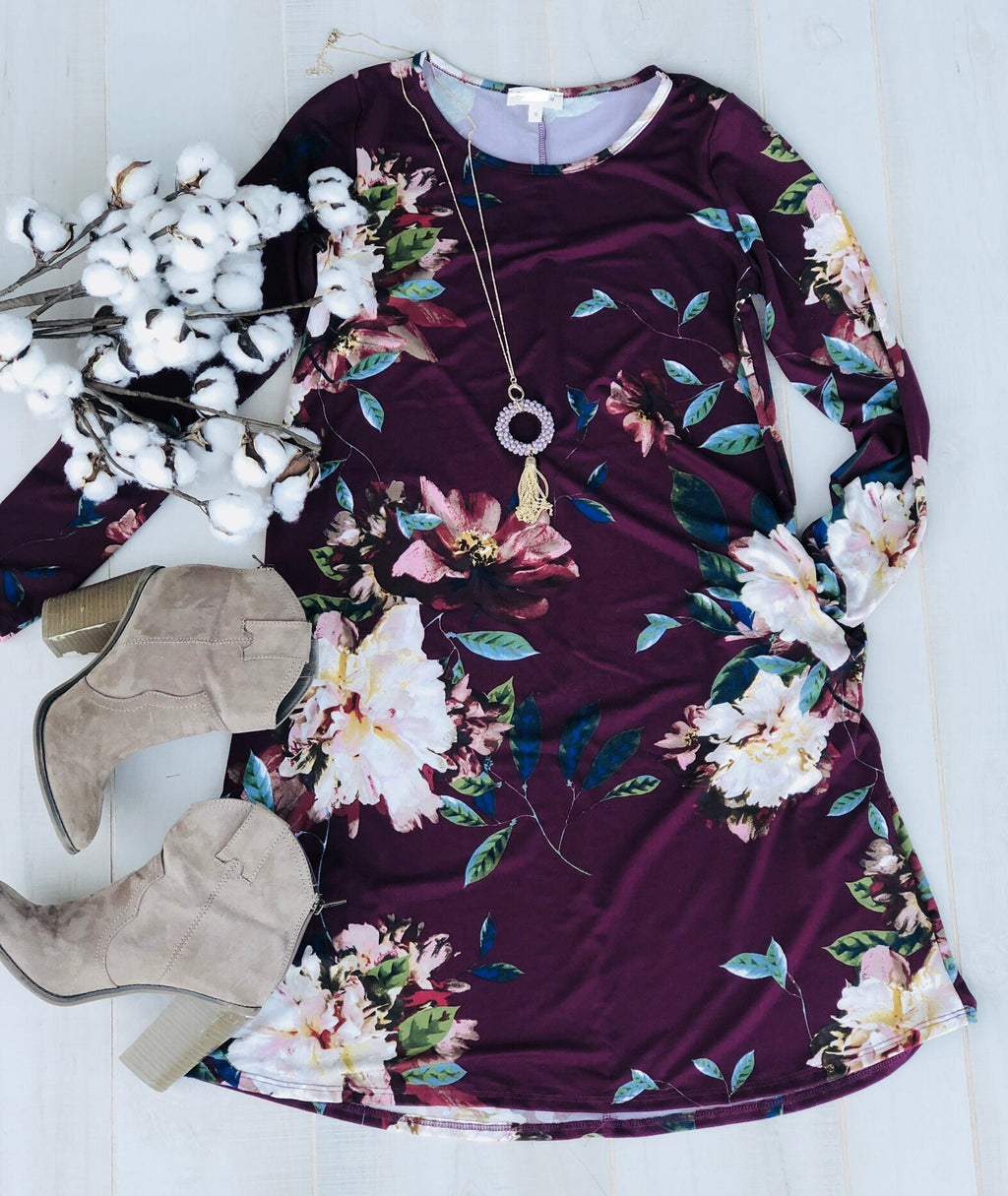 Burgundy Floral Dress with Pockets