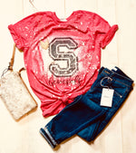 Bleached and Distressed CROOKSVILLE School Spirit Tee