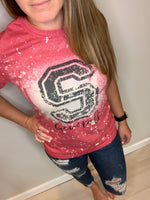 Bleached and Distressed JOHNSTOWN School Spirit Top