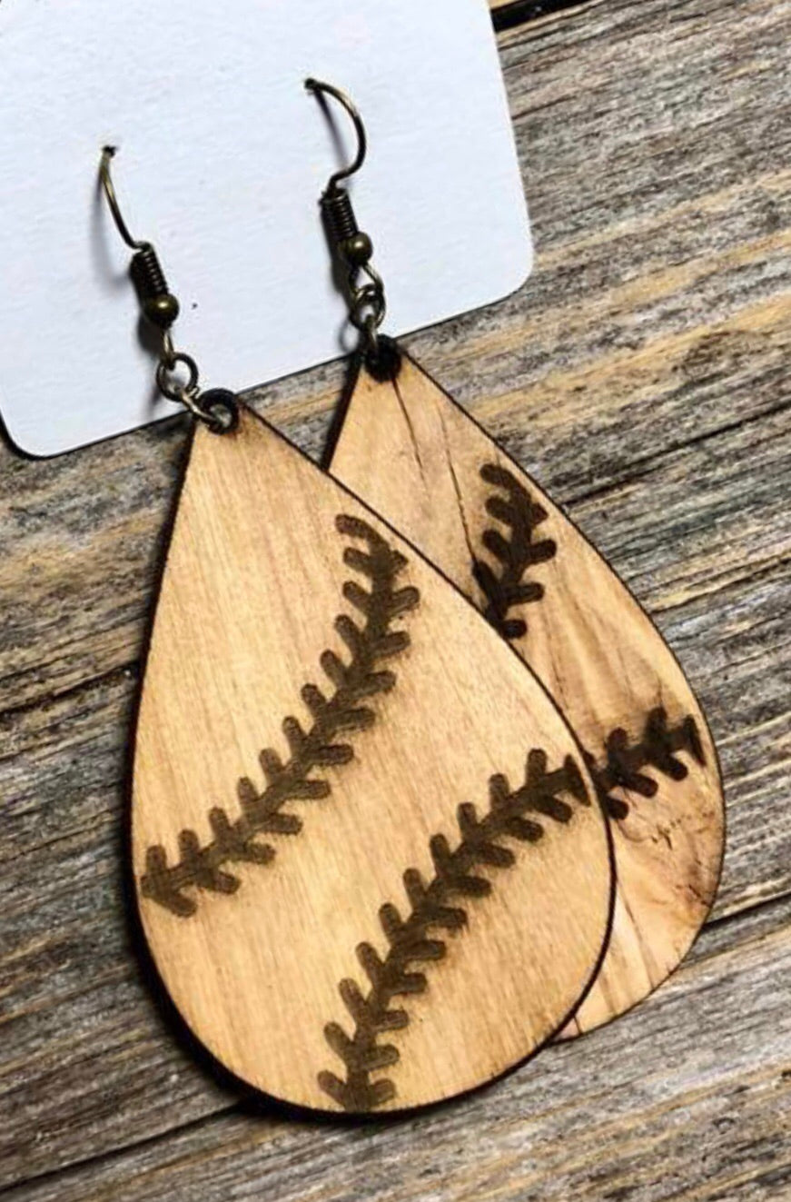 Stained Baseball Earrings