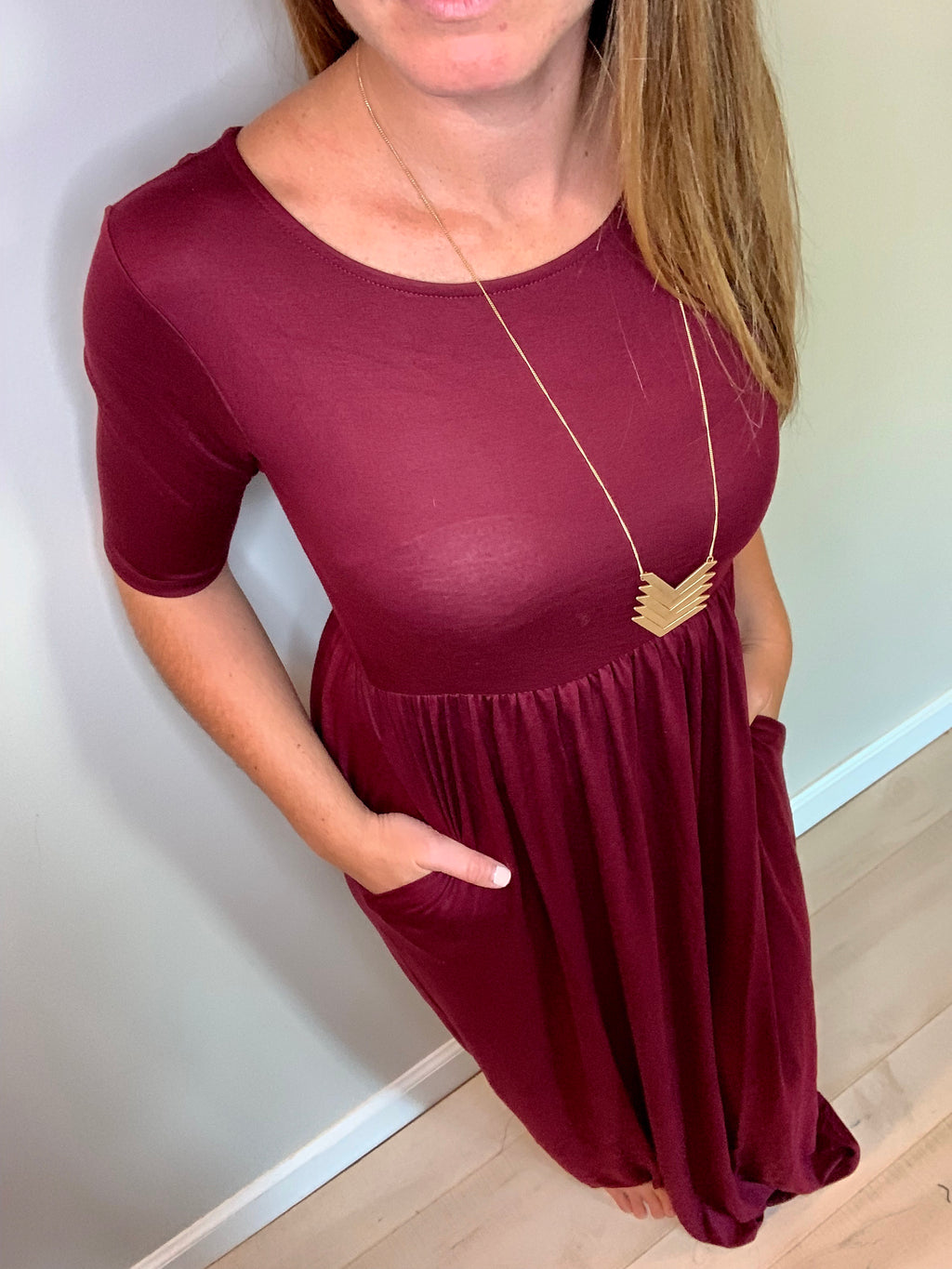 Soft and Stretchy Maxi Dress (Cranberry)*