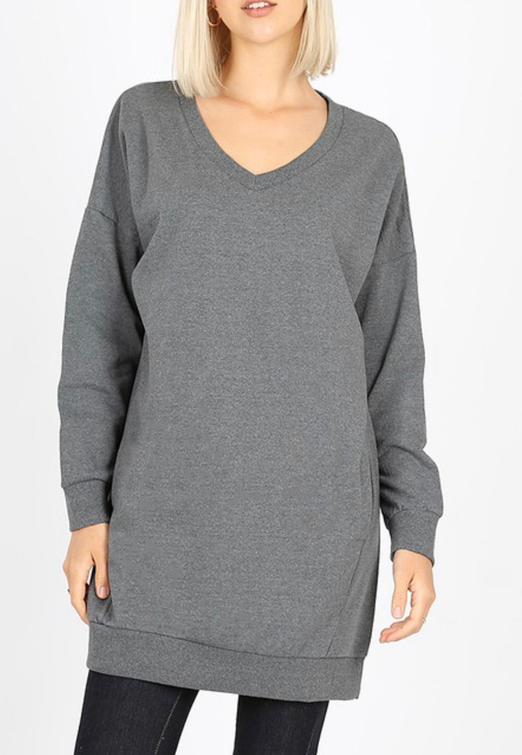 Long Comfy and Casual V- Neck Tunic Sweatshirt (Grey)*