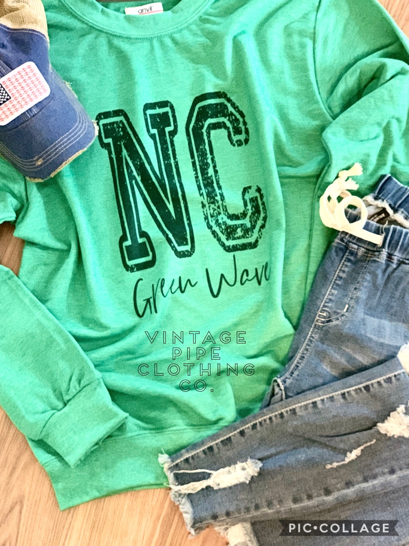 Bleached and Distressed Newark Catholic School Spirit Top