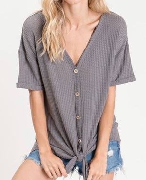 The Chevy Front Knot Top (Charcoal)*