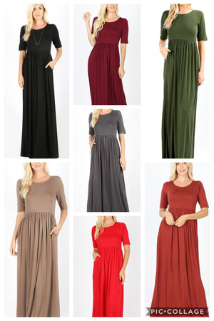 Soft and Stretchy Maxi Dress (Red)*
