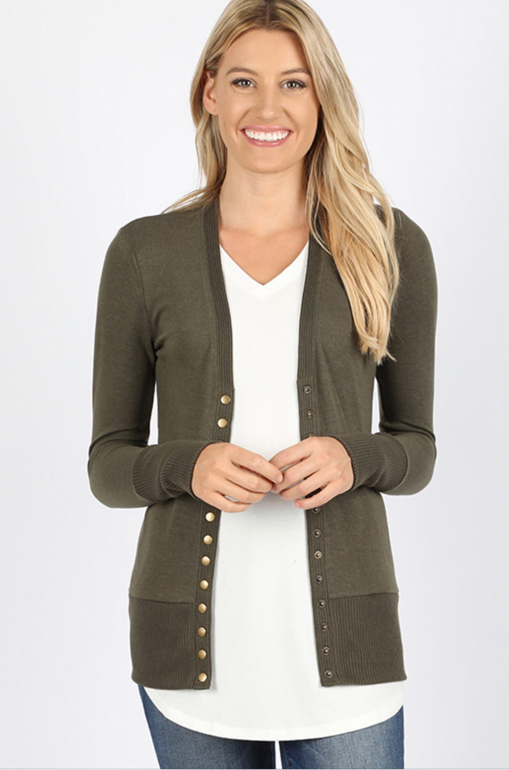 Your Favorite Snap Cardi (Olive)*