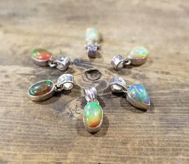 Black Opal and Australian Opal pendants on sterling silver .925