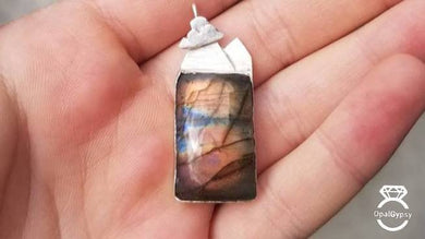 Labrodorite Mountains Sterling Silver OOAK Pendant