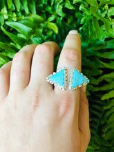 Load image into Gallery viewer, Double Triangle Mohave Turquoise Ring Adjustable • gifts for her • turquoise ring • unique ring • triangle ring