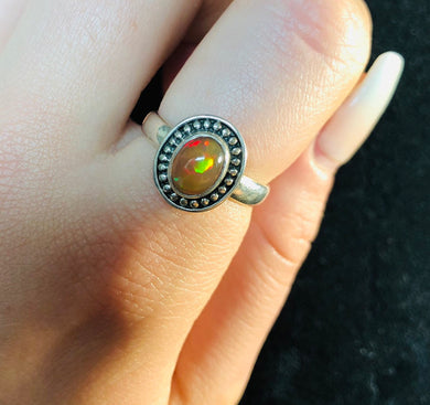 Cosmic Chocolate Opal Ring size 7.5