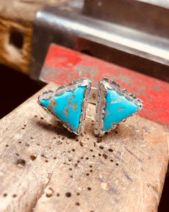 Double Triangle Mohave Turquoise Ring Adjustable • gifts for her • turquoise ring • unique ring • triangle ring