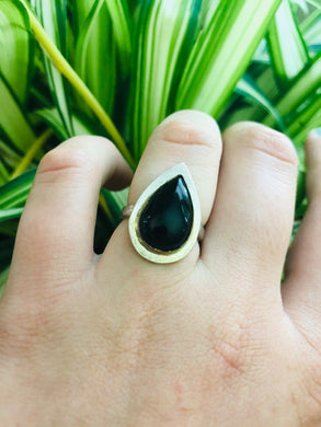 Black Tears • Onyx Teardrop ring size 6.5 • silver and gold • gifts for her • witchy ring