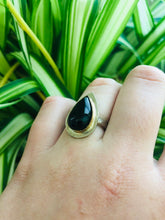 Load image into Gallery viewer, Black Tears • Onyx Teardrop ring size 6.5 • silver and gold • gifts for her • witchy ring