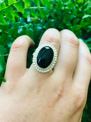 Black Onyx Bright Silver Ring size 6 • gifts for her • black jewelry • all black • onyx jewlery • power stone
