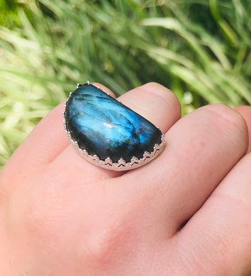 Labradorite Half Moon Ring sz 6 • sterling silver • gifts for her