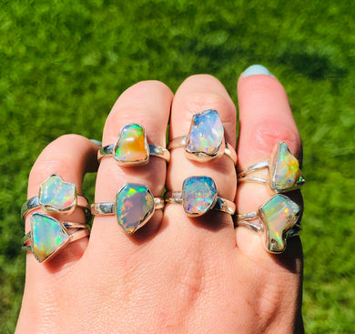 Rough Welo Opal • Rings sizes 5-10 • stering silver • gifts for her • unisex ring • rough ring