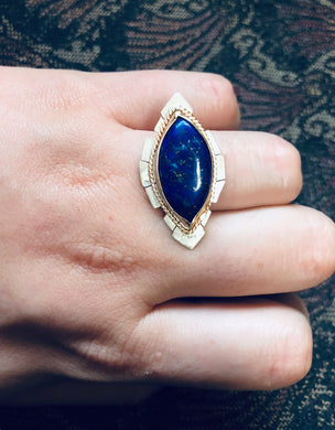 Lapis Spaceship Ring size 7.5 • handmade lapis ring • one of a kind • gifts for her • unique ring • marquise lapis ring