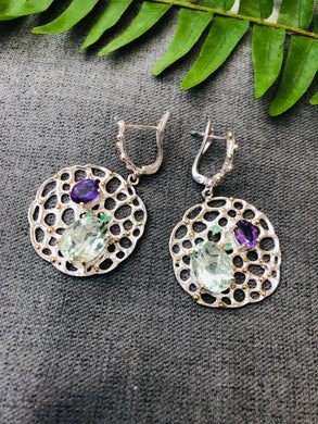 Green and purple Amethyst with gold specs earrings - latch back - February Birthstone - unique Amethyst - two toned - healing jewellery