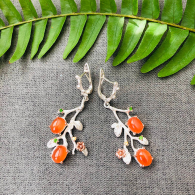 Carnelian and Peridot Earrings -  Branch and flowers design - rose gold and white rhodium plating - nature jewellery - 2nd chakra stone