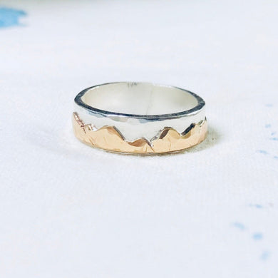 Custom Mountian Range Ring • All sizes avaliable • custom wedding band • mountian ring • unisex wedding band • sterling silver and gold