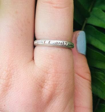 Engraved Silver Ring • tree ring • simple wedding band • gifts for him • custom engraved band