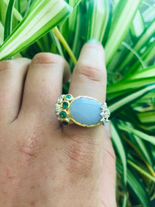 Chalcedony OOAK ring with Jade size 8