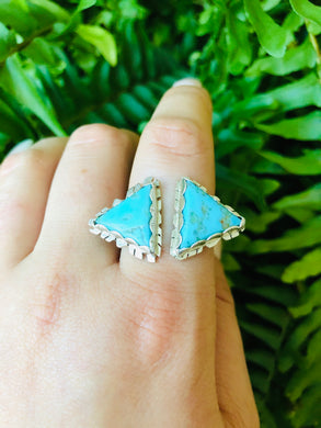 Double Triangle Ring with Mohave Turquoise sizes 6.5-10