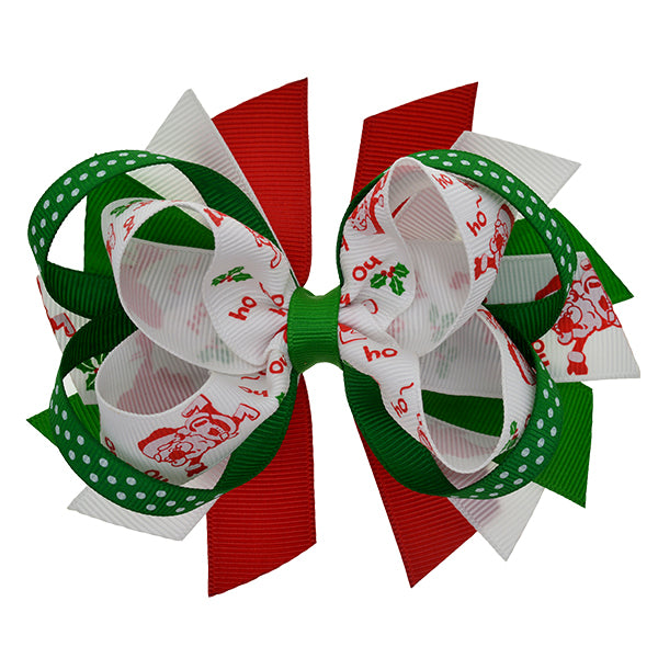 2x Girls Pinwheel Hair Bow Clips Hair Accessories Christmas Xmas Reindeer Red
