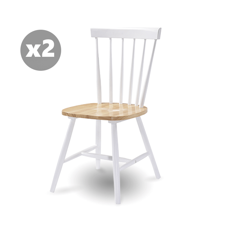 Set of 2 Dining Chair Solid Rubberwood in Danish Natural Oak | 360HomeWare