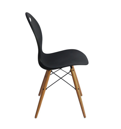 Set of 2 Eames look Trenz dining chair Black with solid natural Red oak legs | 360HomeWare