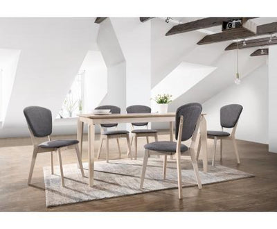 Dining Table 6 Seater Solid Rubberwood in White Washed | 360HomeWare