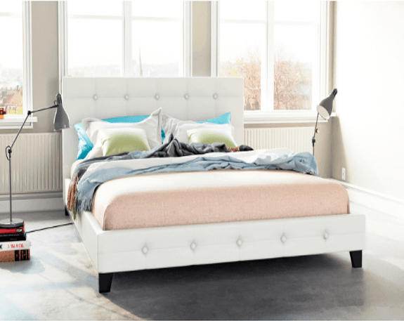 Grande Size PU Leather Bed Frame - White | 360HomeWare
