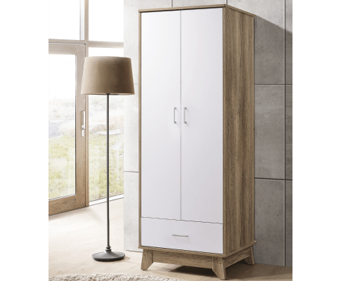 2 Door Wardrobe w/ Drawer Oak | 360HomeWare