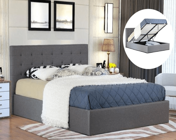 Empire Fabric Gas Lift Bed Frame  - Grey | 360HomeWare