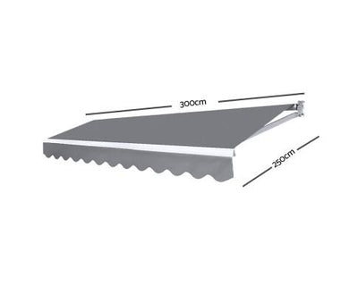 3M x 2.5M Outdoor Folding Arm Awning - Pegru | 360HomeWare