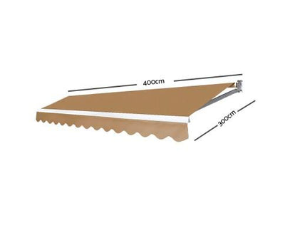 4M x 3M Outdoor Folding Arm Awning - Beige | 360HomeWare