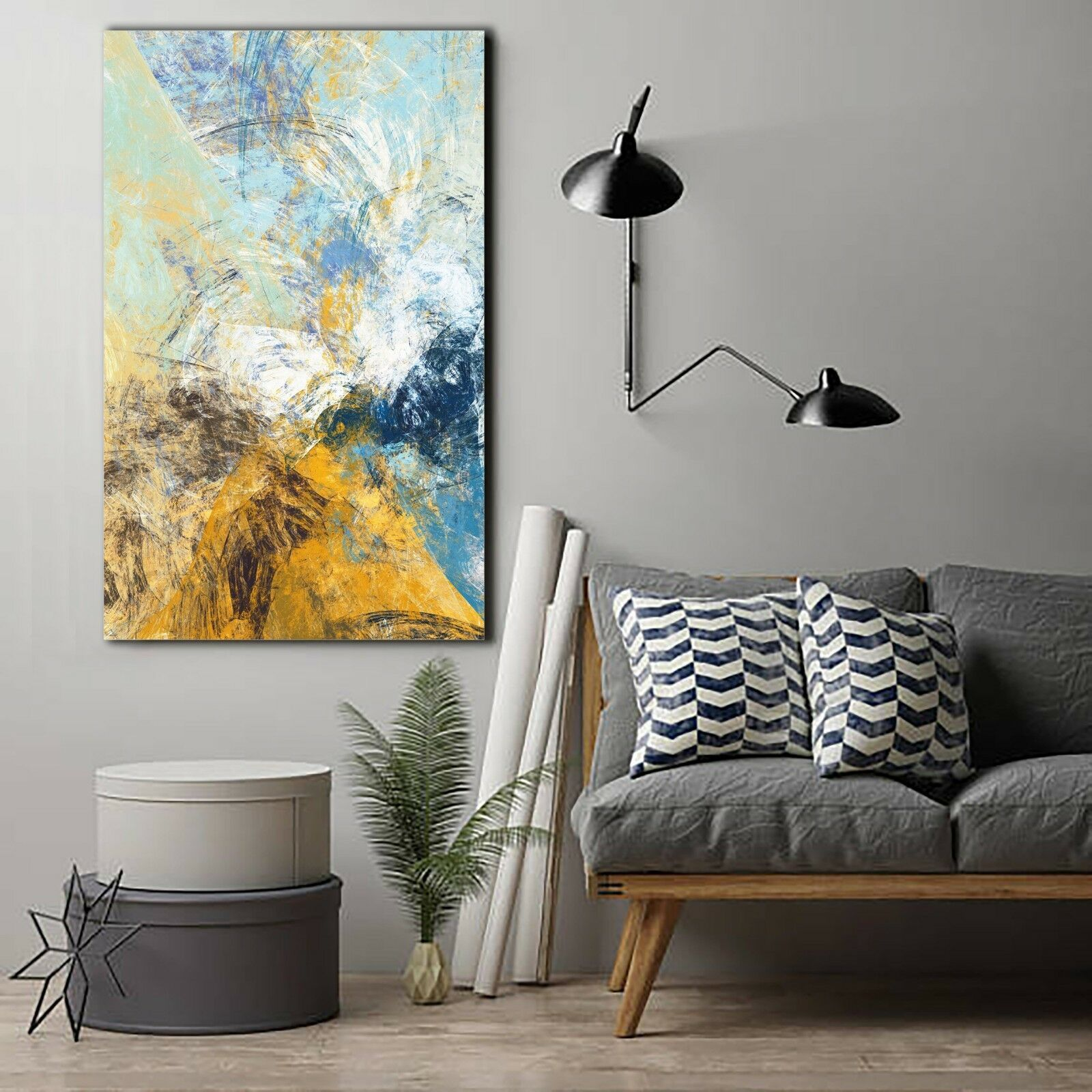 Blue and Yellow Abstract Canvas | 360HomeWare