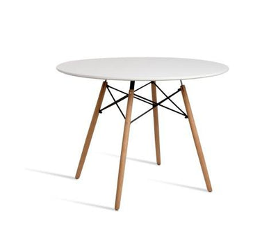 Artiss Round Beech Timber Dining Table - White | 360HomeWare