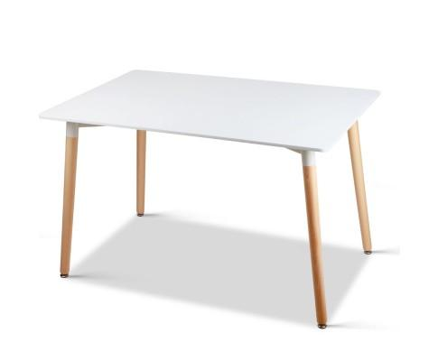 Artiss Rectangular Beech Timber Dining Table - White | 360HomeWare