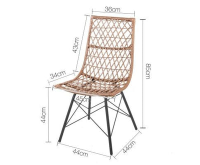 Set of 4 PE Wicker Dining Chair (Natural) | 360HomeWare