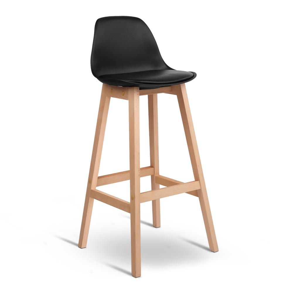 Artiss Set of 2 Beech Wood Bar Stools with Backrest - Black | 360HomeWare