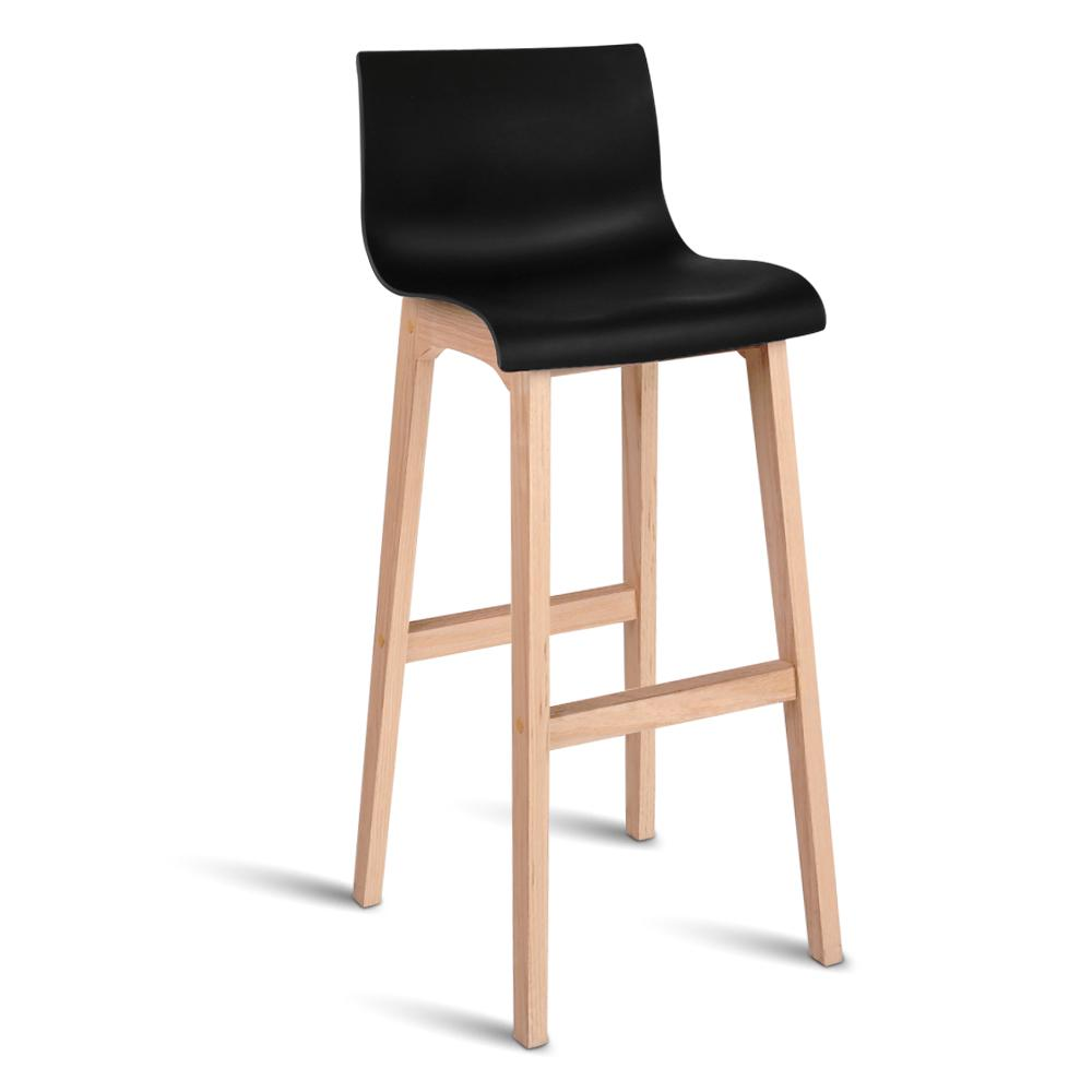 Artiss Set of 2 Beech Wood Bar Stools - Black | 360HomeWare
