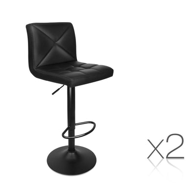 Artiss Set of 2 PU Leather Gas Lift Bar Stools - Black | 360HomeWare